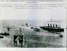 """The """"Lusitania"""" greatest Ship of the world, penetrating into the Port of New York. June 1, 1966."""