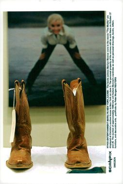 """The boots like Marilyn Monroe were in the movie """"The Disapproved"""" to be auctioned"""