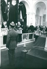 Rene Coty during a ceremony.