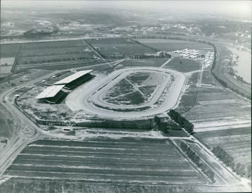 Aerial view of running track, 1960.