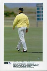 Portrait of the golfer Peter Hedblom in action