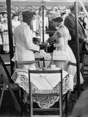 Princess Margaretha having tea with a man.