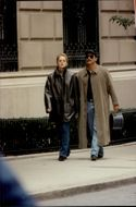 "Sharon Stone takes a break from the movie recording of ""Gloria"" for an afternoon walk with his boyfriend Phil Bronstein"