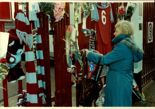 Football souvenirs hang out for West Ham United's football player Bobby Moore around Upion Park.