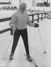 Princess Alexandra, The Honourable Lady Ogilvy skiing on ice, 1961.