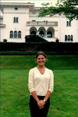 Crown Princess Victoria poses for the camera in the garden at Solliden during her 21st birthday.