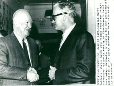 Senator Barry Goldwater shakes hands with ex-president Dwight Eisenhower