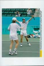 Mark Woodforde and Todd Woddbridge from Australia win the Olympic Games in Atlanta