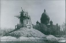 A view of a structure under construction in front of Saint Petersburg Cathedral in Leningrad, 1943.