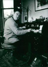Mr. William whitelaw, former Conservative Minister, at work in his home in Ennim, Cumbria. Mr. Whitelaw came second in the February 1975 election for the Conservative Party Leadership ( he polled 79 votes to Mrs, Thatcher's 146).