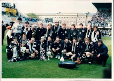 Group picture of the football team Newcastle United FC after becoming Champions in Division One