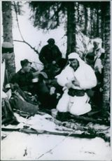 Norwegian Campaign in the forest while smoking in snow, 1940.