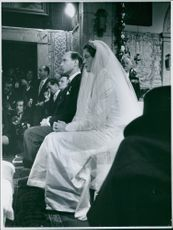 Princess Maria Pia of Bourbon-Parma and Prince Alexander of Yugoslavia during their wedding ceremony.