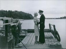 Britta Larsson and George Fant  in a scene from the film Kadettkamrater (Cadet Comrades), 1939.