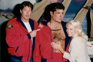 David Hasselhoff and Pamela's wife with David Hasselhoff's wax doll at the Hollywood Wax Museum