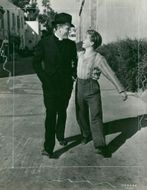 Spencer Tracy and Mickey Rooney between the recordings of a new Metro-Goldwyn-Mayer production