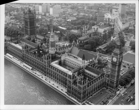 Photography in black and white at the English Parliament Westminster and Big Ben. Picture taken from helicopter.