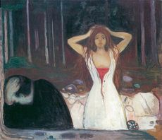 "Edvard Munch color image on postcard of painting ""Ashes"""