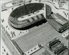 An architectural sketch of the forthcoming ice hockey hall where ice hockey, art skating and skating forests will be decided during the Sapporo Olympic Games.
