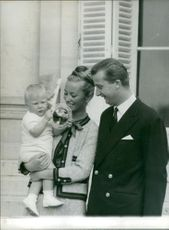 Albert II of Belgium with his wife Queen Paola of Belgium and child.