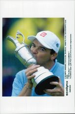 Paul Lawrie celebrates the victory in the British Open.