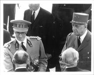 King Baudouin of Belgium in a meeting with General De Gaulle during his state visit in France