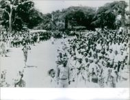 Kongo people gathered on the grounds during a ceremony, 1964.