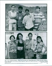 "1996 Top- (l-r) Anthony Ruivivar, J. Moki Cho, Dion Basco and Casey Affleck. Bottom- (l-r) Sara Tanaka, Eliza Dushku, Adriane Napualani Uganiza and Nadja Pionilla star in TriStar Pictures' comedy ""Race The Sun""."