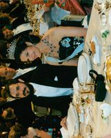 Picture from the Nobel Festival at dinner table Queen Silvia and Russel A. Hulse.