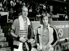 Stan Smith and Stefan Simonsson during the Stockholm Open tournament
