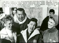 Prince Bertil with silver medalists Toini Gustafsson, Britt Strandberg and Barbro Martinsson during the Winter Olympics in Innsbruck 1964