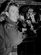 Martina Navratilova with the trophy for the Virginia Slims Championship