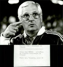 Portrait image of Jupp Dewall, coach of the German national team, taken in an unknown context.