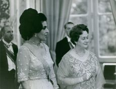 Queen of Afghanistan, Humaira Begum, with Charles de Gaulle's wife, Yvonne de Gaulle, at a function. 1965.
