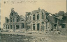 A vintage photo of a building that has been damaged during war in 1917.
