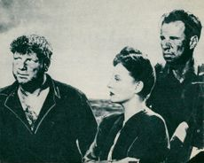 """A scene from the Hitchcock movie """"Lifeboat"""", from Walter Slezak, Tallulah Bankhead and Hume Cronyn."""