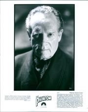 "Patrick McGoohan's portrait from a 1996 American superhero film, ""The Phantom""."