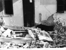 Picture of a destroyed house in Israel.