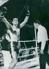 Mate Parlov raising his fists as he becomes the new European Middleweight Boxing Champion after defeating Domenico Adinolfi. 1976.