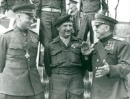 Viscount Montgomery surrounded by soldiers