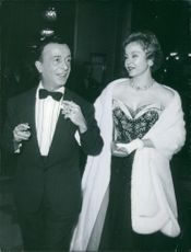 Emilio Federico Schuberth and Spanish actress Linkz at a ball in a Rome's Hotel. 1960.