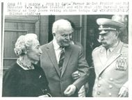 Telegram Photo. Former Foreign Minister Molotov with spouse and old-age alien Budjonny leave the palace near Kremlin Nikita Sergeyevich
