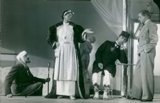 "Torsten Winge, Gunnar Olson and Tora Teje in ""Miljonerskan"" at Dramaten"