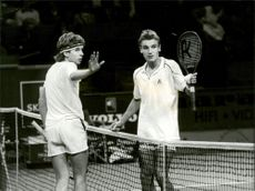 The tennis players Peter Carlsson and Mats Wilander