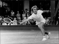 Ray Moore during the match against Clark Graebner in Wimbledon in 1968
