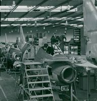 """Hunting plan of the type """"J 29"""" under construction at Saab"""