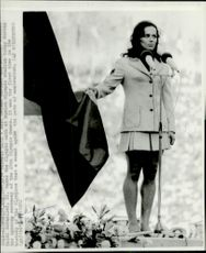 Heidi Schueller attends the Olympic oath during the opening ceremony of the 1972 Olympic Games