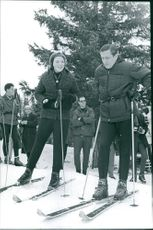 Beatrix and Claus of the Netherlands skiing in Gstaadt.