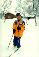Swedish royal family on a skiing holiday in Storlien. Here the Crown Princess Victoria goes skiing.