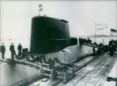 """The West German built submarine the """"Santa Cruz"""", which was handed over to the Argentinian Navy, 1985."""